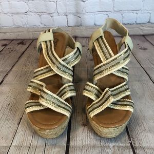 Carlos silver and gold embellished wedge sandal